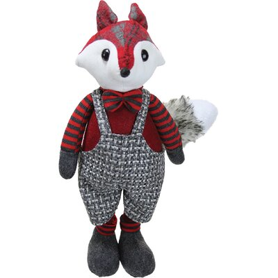 Charming Plaid Country Boy Fox Decorative Christmas Tabletop Figure