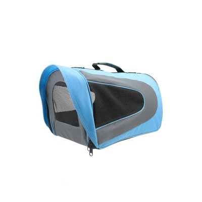 Pet Carrier Size: Medium, Color: Light Blue/Black/Gray