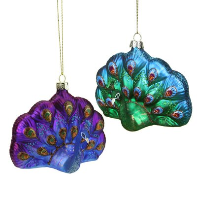 Regal Peacock Glittered Glass Peacock Christmas Ornament Color: Green/Blue THLA5550 40086056