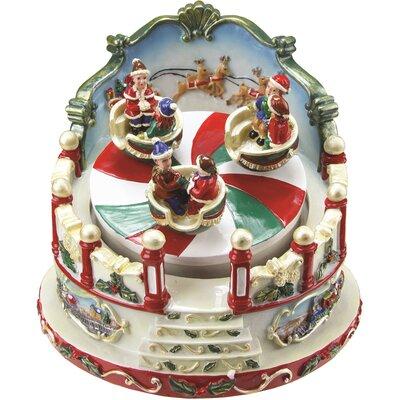Animated Christmas Figurine Winter Scene Rotating Music Box