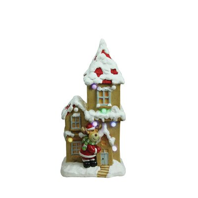 Christmas Morning Pre-Lit LED House with Santa Reindeer Decorative Christmas Tabletop Figure