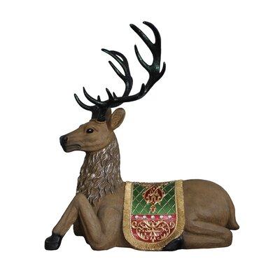 Commercial Grade Sitting Reindeer Fiberglass Christmas Decoration