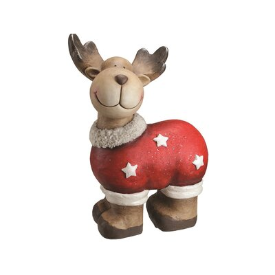 Whimsical Reindeer in a Sweater with Stars Christmas Table Top Decoration 32261917