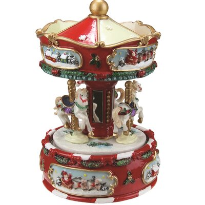 Animated Musical Carousel with Canopy and 3-Horses Christmas Table Top Decoration
