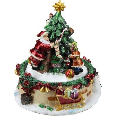 Animated Santa Claus and Christmas Tree Winter Scene Rotating Music Box