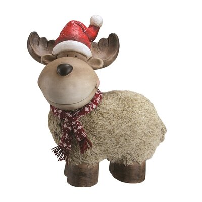 Whimsical Reindeer with Nordic Style Scarf and Santa Hat Christmas Table Top Decoration