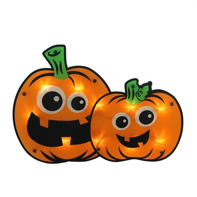 Lighted Jack-o-lantern Pumpkin Couple Halloween Window Silhouette Decoration 32263004