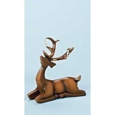 Faux Wooden Laying Deer Decorative Christmas Table Top Decoration