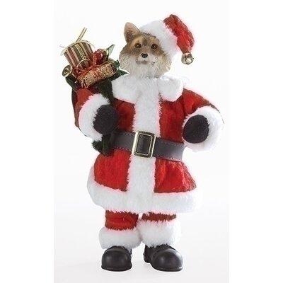 Santa Fox with Satchel Decorative Christmas Table Top Decoration