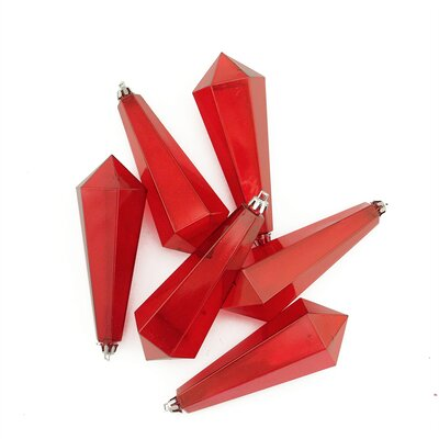 Shatterproof Diamond Shaped Icicle Christmas Ornament Color: Red Transparent