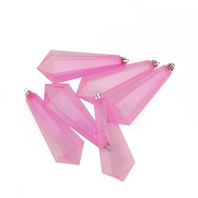 Shatterproof Diamond Shaped Icicle Christmas Ornament Color: Pink Transparent