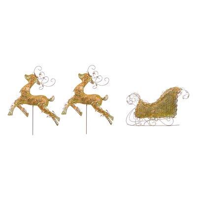 3 Piece Lighted 3-D Glitter Reindeer and Sleigh Christmas Yard Art Decoration Set