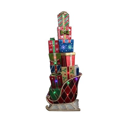 LED Lighted Commercial Grade Sleigh Stacked with Presents Fiberglass Christmas Decoration