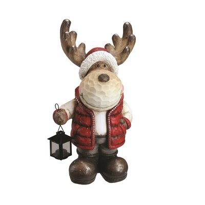 Whimsical Reindeer in Vest and Hat with Candle Lantern Christmas Table Top Decoration 32262136