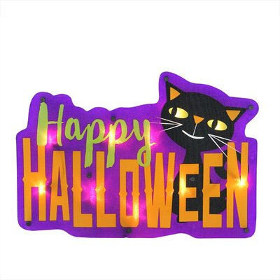 "Lighted ""Happy Halloween"" Sign with Cat Window Silhouette Decoration"