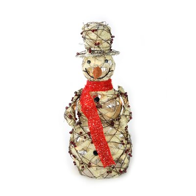 Lighted Burlap and Berry Rattan Standing Snowman Christmas Yard Art Decoration