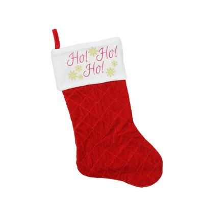 "Quilted Velvet ""Ho! Ho! Ho!"" Embroidered Christmas Stocking"
