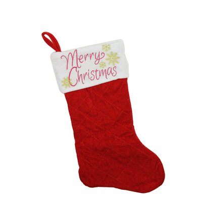 """Quilted Velvet """"Merry Christmas"""" Embroidered Christmas Stocking"""