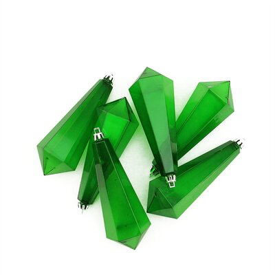 Shatterproof Diamond Shaped Icicle Christmas Ornament Color: Green Transparent