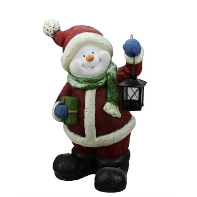 Festive Glitter Snowman with Lantern Christmas Table Top Decoration