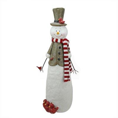 Glitter Snowman with Cardinal Birds Christmas Table Top Decoration