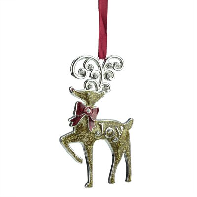 "Regal Glitter ""Joy"" Reindeer Ornament with European Crystal"
