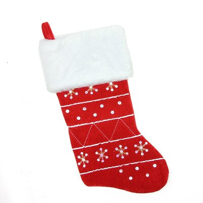 Traditional Embroidered Snowflake Cuffed Christmas Stocking