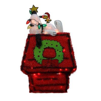 Peanut Pre-Lit Peanuts 3D Snoopy on Dog House with Star Christmas Yard Art Decoration