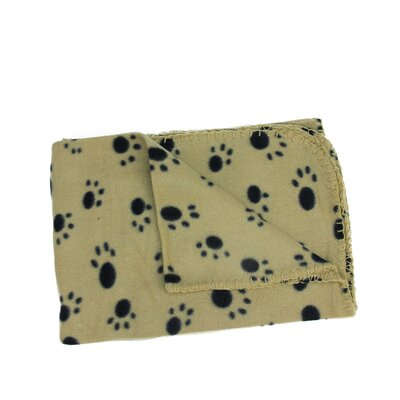 Klaus Paw Print Patterned Soft Fleece Throw Blanket for Pet Beds Color: Tan / Black
