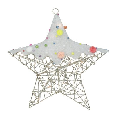 Lighted Glittered Rattan Candy Covered Hanging Star Christmas Window Decoration