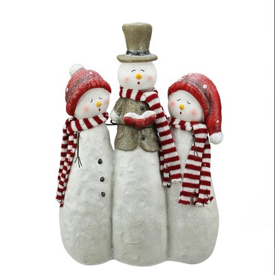 Glitter Snowman Carolers Christmas Table Top Decoration