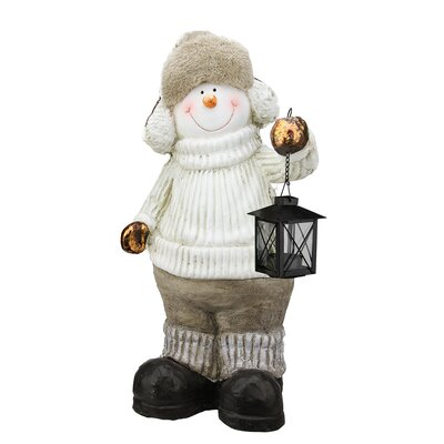 Snowman with Lantern Christmas Table Top Decoration