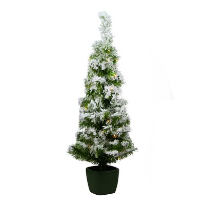 3.5' Green Artificial Christmas Tree with 35 Clear Lights with Pot and Flocked