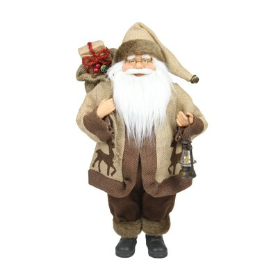 Country Rustic Santa Claus with Lantern Christmas Tabletop Decoration
