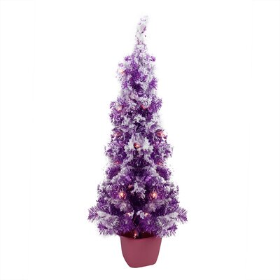3.5' Purple Artificial Christmas Tree with 35 Clear Lights with Pot, Tinsel Branches and Flocked