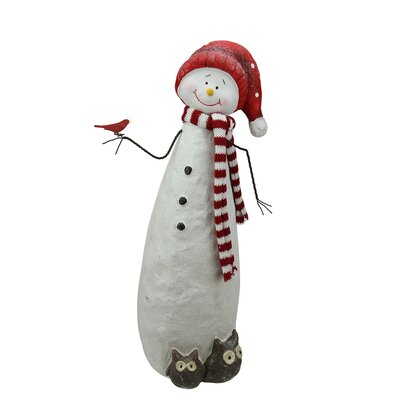 Glitter Snowman with Owls Christmas Table Top Decoration