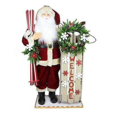 Battery Operated Lighted Santa with Welcome Sled and Skis Decorative Christmas Figure 31743887
