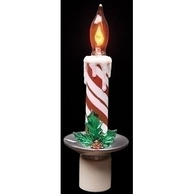 Candy Cane Striped Candle Decorative Christmas Flicker Flame Night Light