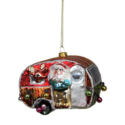 Camper Van Trailer with Santa and Reindeer Glass Christmas Ornament