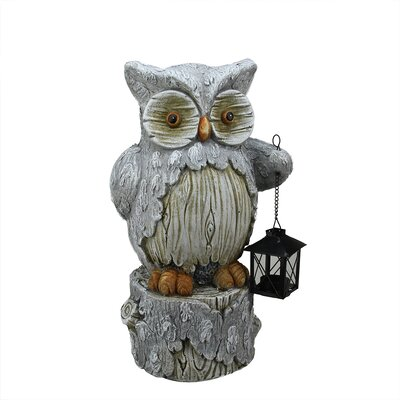 Country Rustic Owl with Lantern Christmas Table Top Decoration