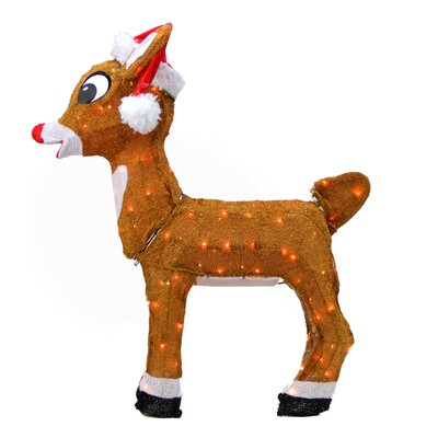 Rudolph the Red-Nosed Reindeer Pre-Lit in Santa Hat Christmas Yard Art Decoration
