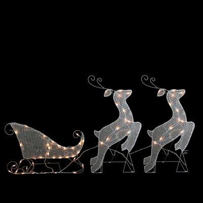 3 Piece Glittered Reindeer and Sleigh Lighted Christmas Yard Art Decoration Set