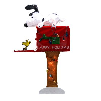 Peanuts Pre-Lit Peanuts Snoopy with Mailbox Animated Christmas Yard Art Decoration