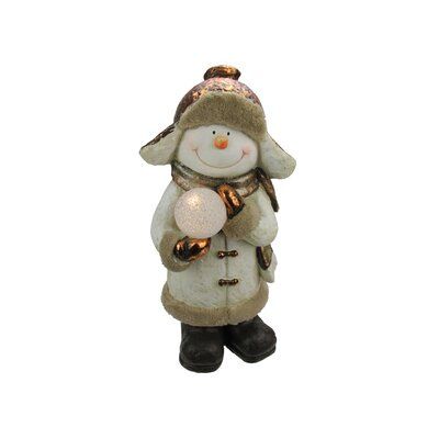 Battery Operated LED Lighted Snowman with Snowball Christmas Table Top Decoration