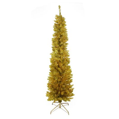 6' Gold Artificial Christmas Tree with Unlit Light with Stand and Tinsel Branches