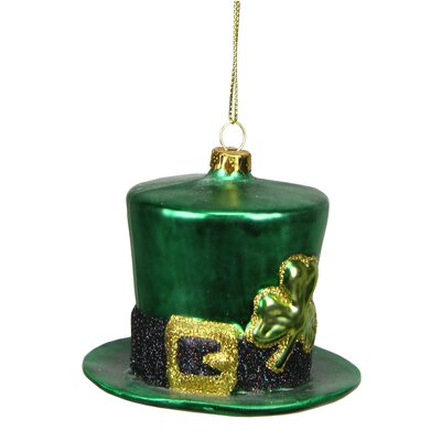 Luck of the Irish Glittered Glass Top Hat Christmas Ornament
