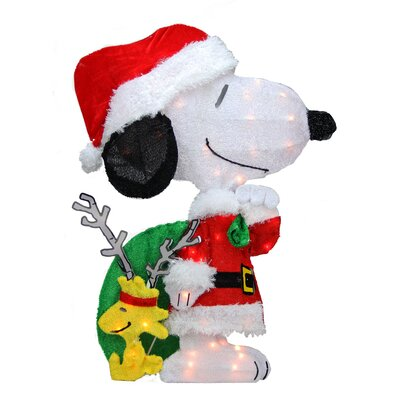 Peanuts Pre-Lit 2D Snoopy with Santa's Toy Bag Christmas Yard Art Decoration