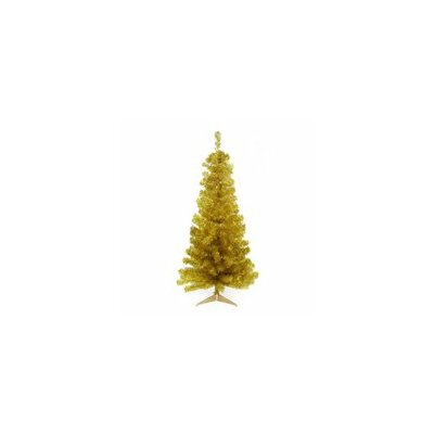 4' Gold Artificial Christmas Tree with Unlit Light with Stand and Tinsel Branches