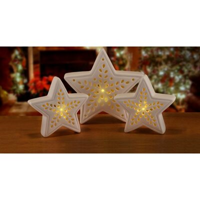 3 Piece Pre-Lit Battery Operated LED Star Christmas Table Top Decoration Set