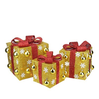 3 Piece Bows Lighted Christmas Yard Art Decorations Set Color: Gold